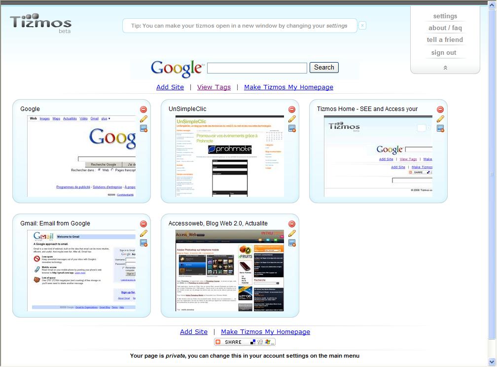 Une Page d'accueil avec les vignettes de vos sites préférés avec Tizmos