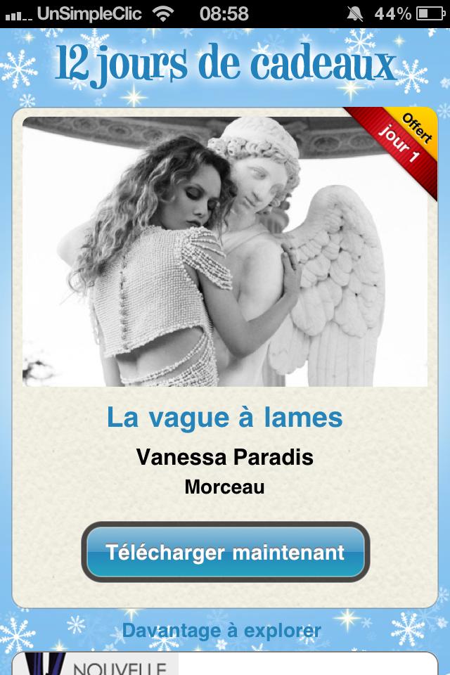 12 jours de cadeaux iTunes - jour 1 : La vague à lames de Vanessa Paradis