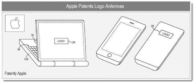Schéma du brevet déposé par Apple pour placer l'antenne derrière le logo