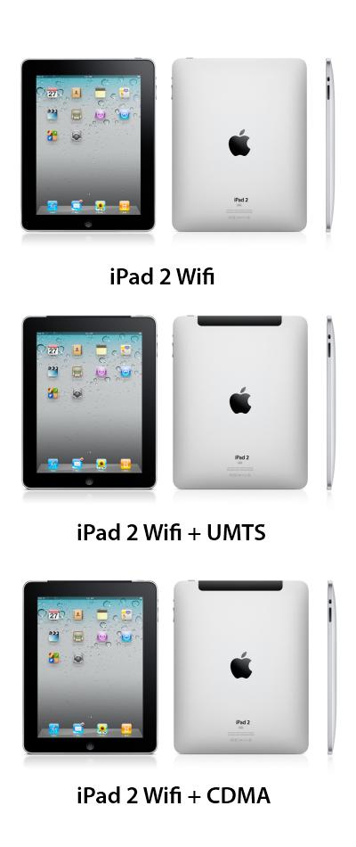 Déclinaison de l'iPad 2 en 3 versions