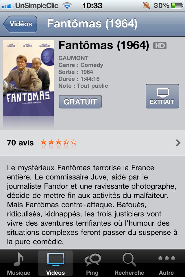 Fiche iTunes de Fantomas