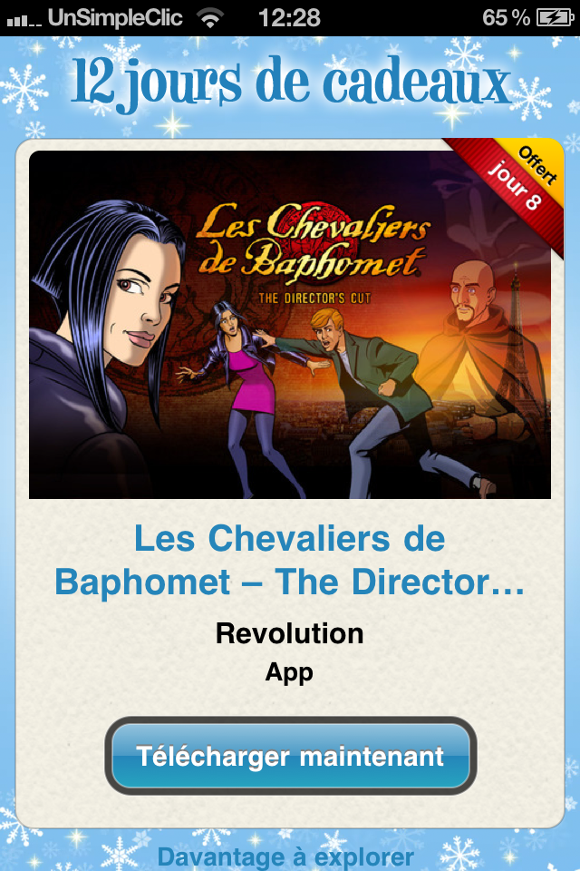 Les Chevaliers de Baphomet – The Director's Cut - Application 12 jours cadeaux