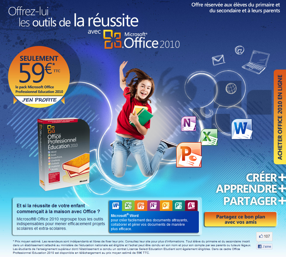 Microsoft Office Professionel 2010 à 59€