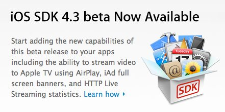 l'iOS 4.3 est diponible pour les développeurs