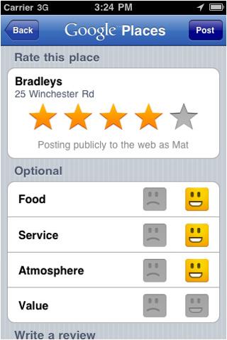 Google Places : Système de notations