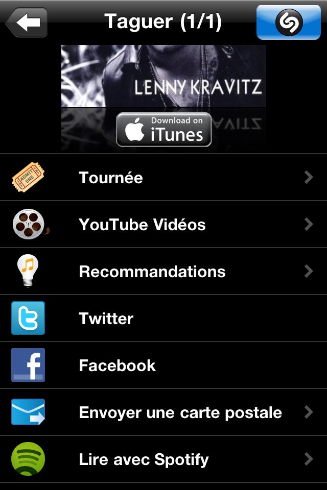 Lien Spotify directement dans Shazam