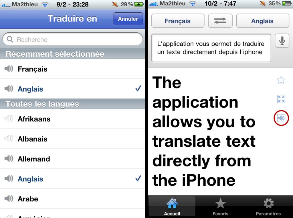 Avec Google Translate, écoutez le résultat de la traduction