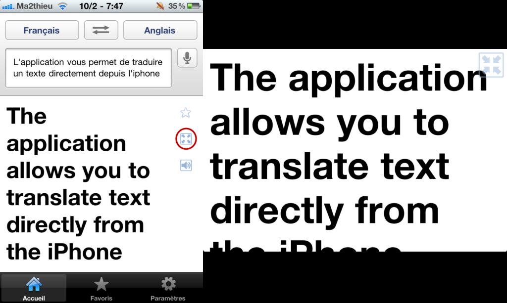 Affichez le résultat en plein écran sur Google Translate