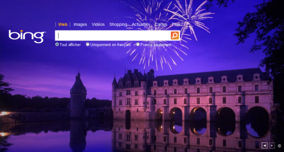 Page d'accueil de Bing en version finale en France