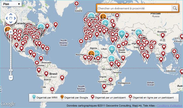 Carte Google Maps des rassemblement pour la Journée de la Femme
