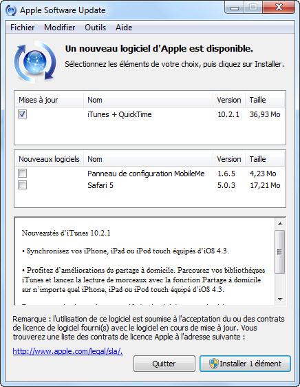 Nouveautés de iTunes 10.2.1