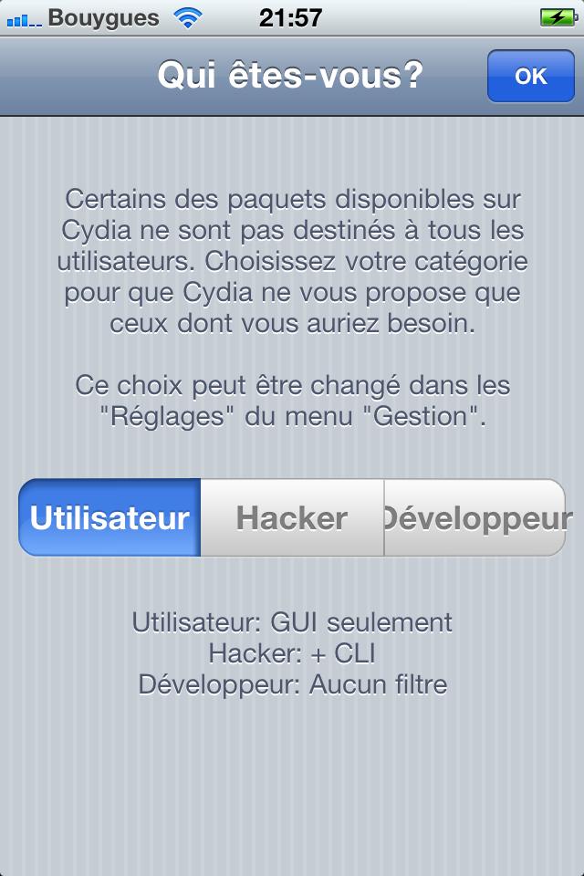 Redsn0w 0.9.6RC14 - Choisissez Utilisateur dans Cydia
