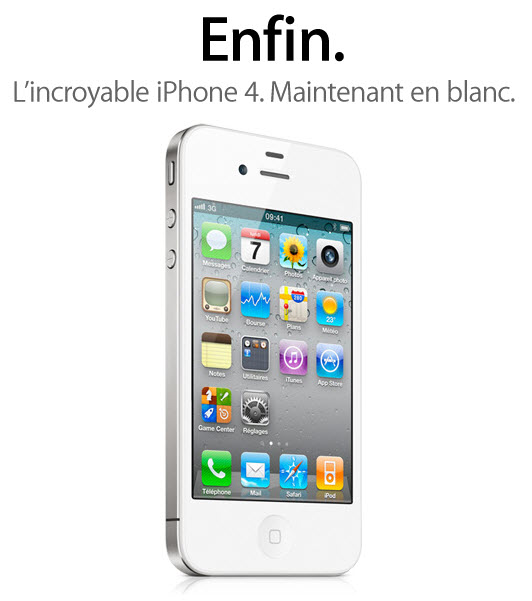 L'iPhone 4 blanc sur le site d'Apple