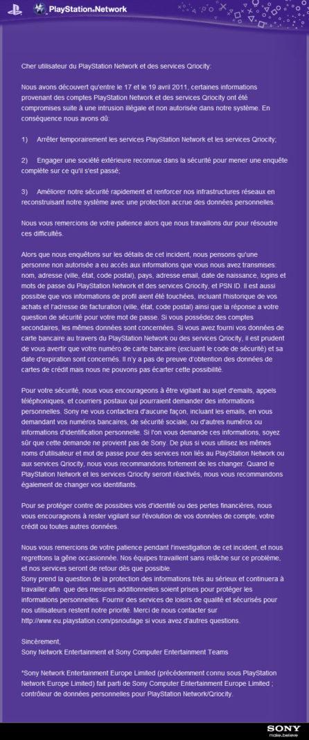 PSN - Message reçu par les utilisateurs du Playstation Network