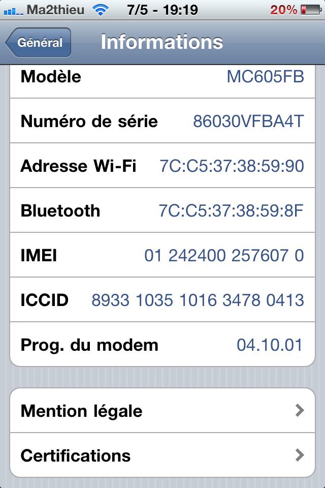 Desimlock - Prog. du modem