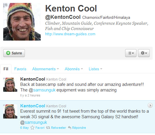 Kenton Cool déballe son Galaxy S 2 en haut de l'Everest