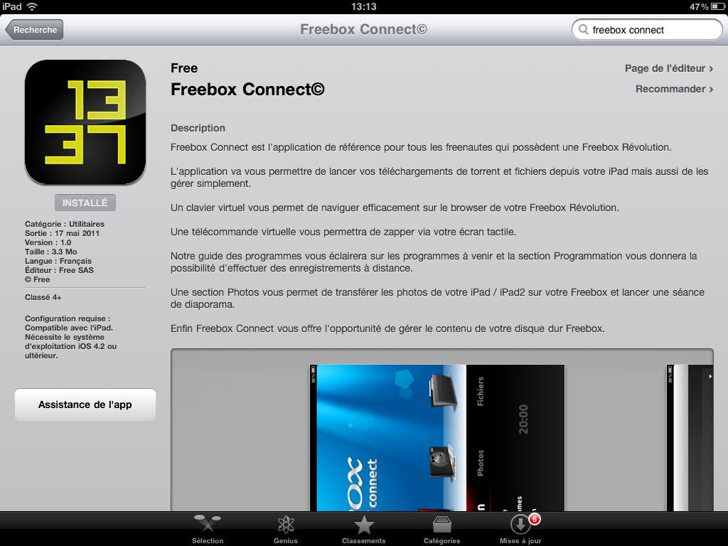 Freebox Connect - Disponible sur l'AppStore