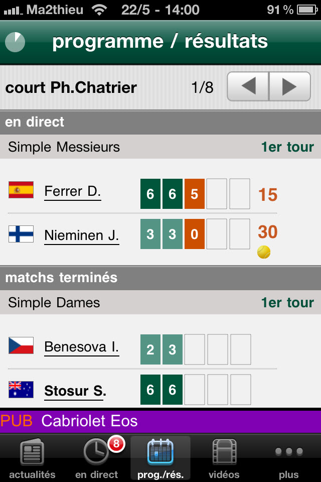 Roland Garros 2011 - Programme et résultats
