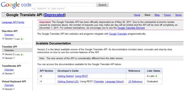 Google stoppe l'API Google Translate