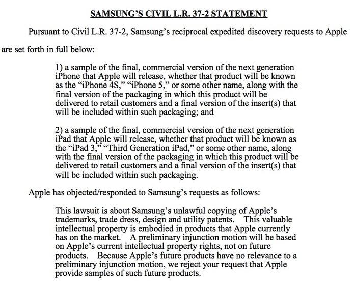 Samsung demande à Apple de voir les iPhoneS, iPhone 5 et iPad 3