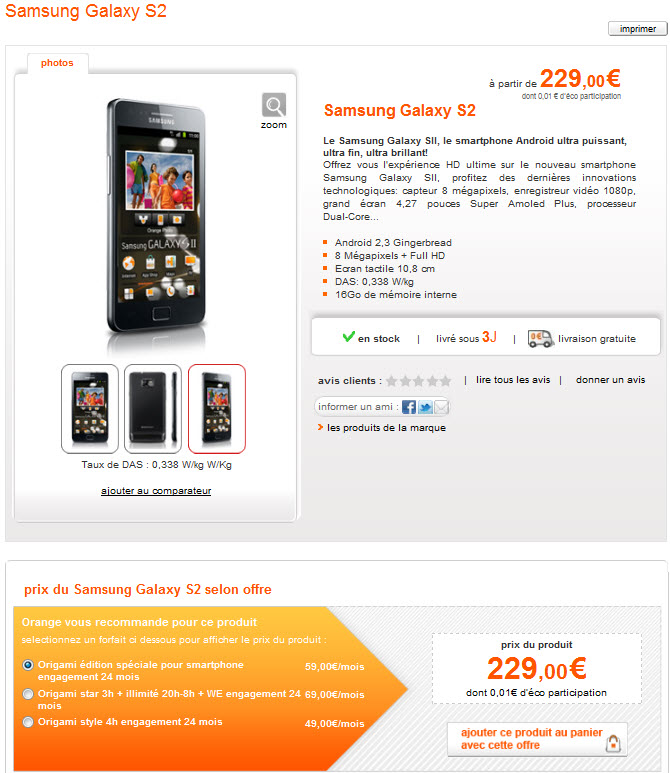 Prix du Galaxy S2 chez Orange