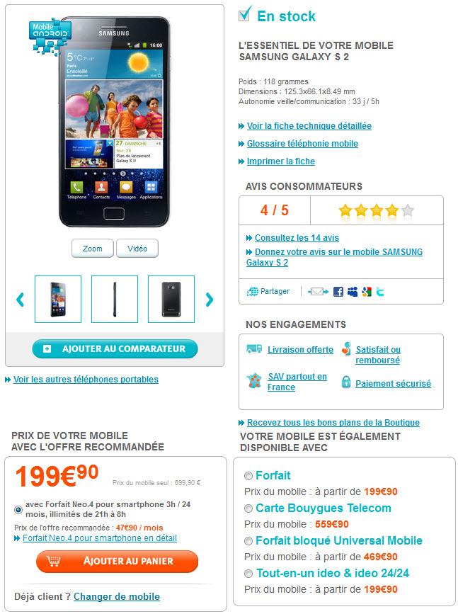 Prix du Galaxy S2 chez Bouygues Telecom