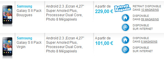 Prix du Galaxy S2 chez The Phone House