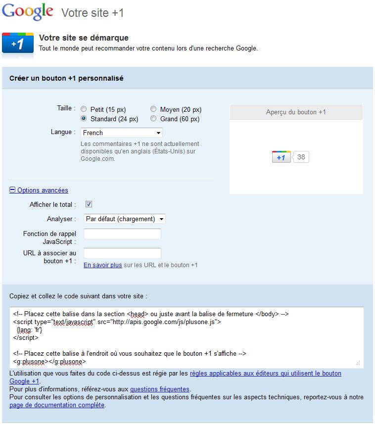Récupérez le code du bouton Google +1