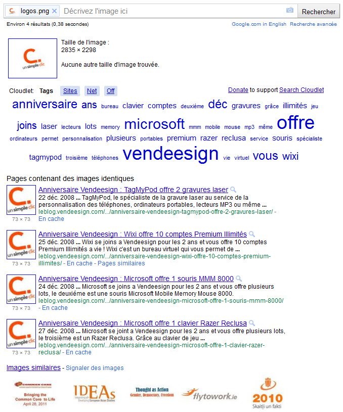 Recherche avec logo UnSimpleClic