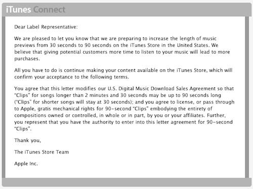 iTunes - la durée d'écoute des extraits musicaux passe de 30 à 90 secondes