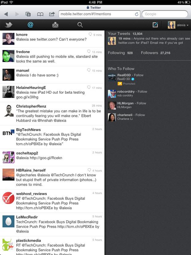 Twitter version HTML5 pour utilisateurs iPad