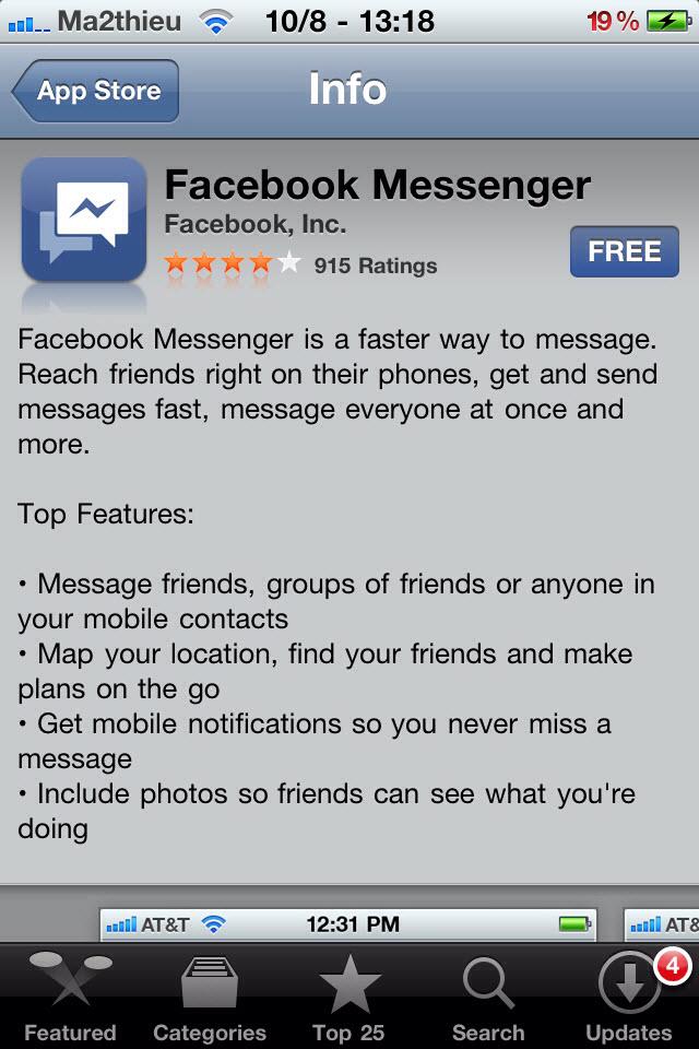 Facebook Messenger est disponible sur l'AppStore US