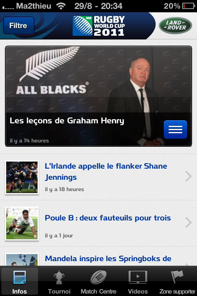 Rugby World Cup 2011 New Zealand - Infos [iPhone]
