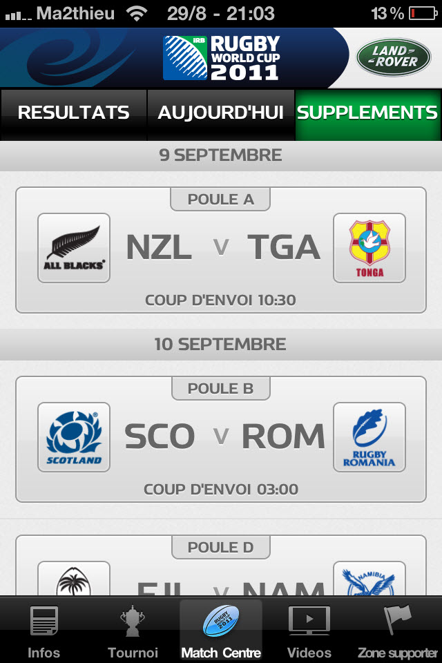 Rugby World Cup 2011 New Zealand - Match Center [iPhone]