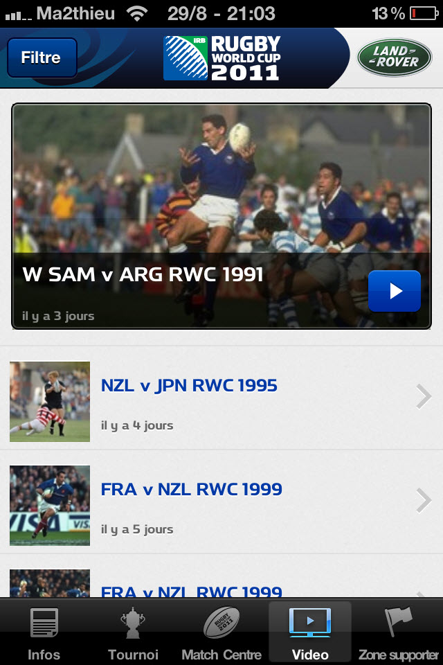 Rugby World Cup 2011 New Zealand - Vidéos [iPhone]