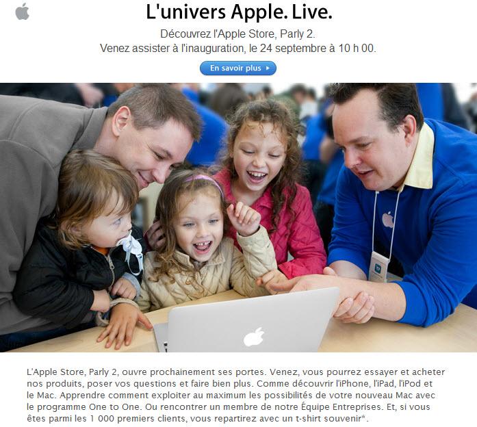 Ouverture de l'Apple Store de Parly2 le 24 septembre
