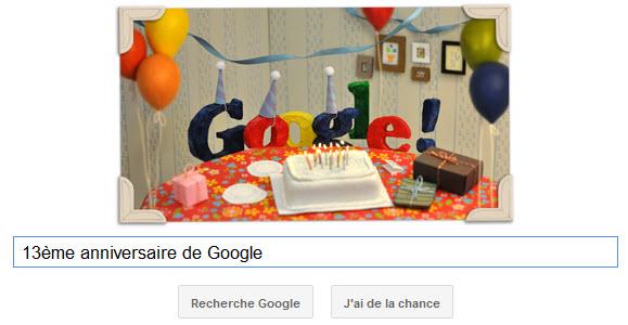 Google fête son 13ème anniversaire