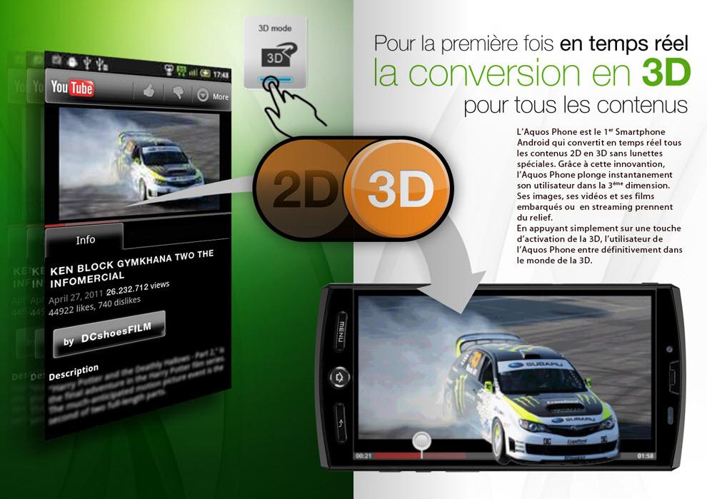 Sharp Aquos Phone SH80F - Conversion 2D / 3D