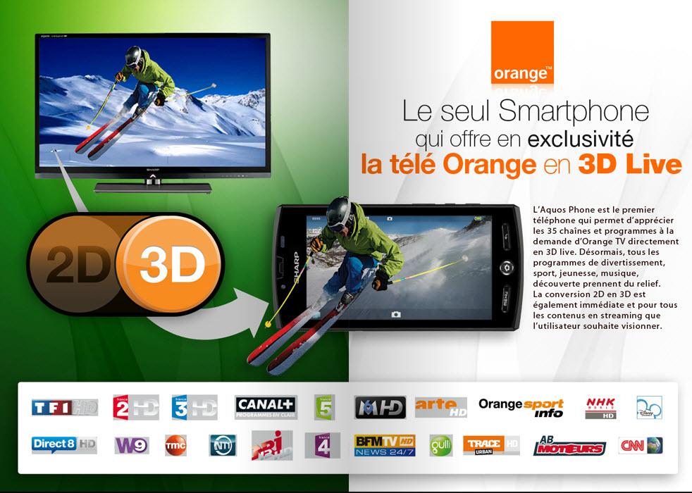 Sharp Aquos Phone SH80F - Télé 3D Orange