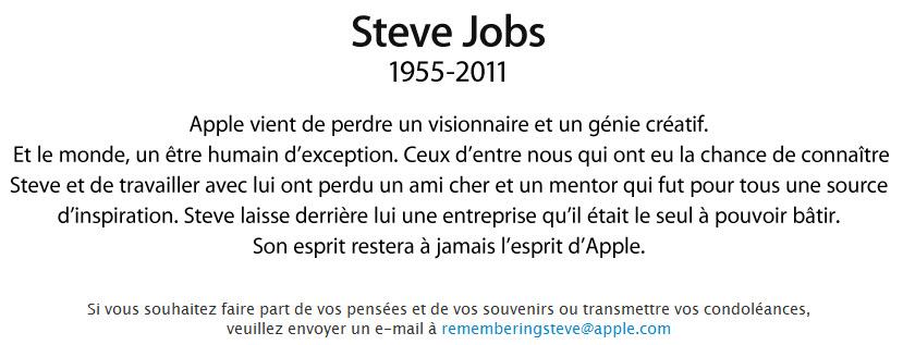 Steve Jobs, le visionnaire de génie, est mort ce 6 octobre 2011