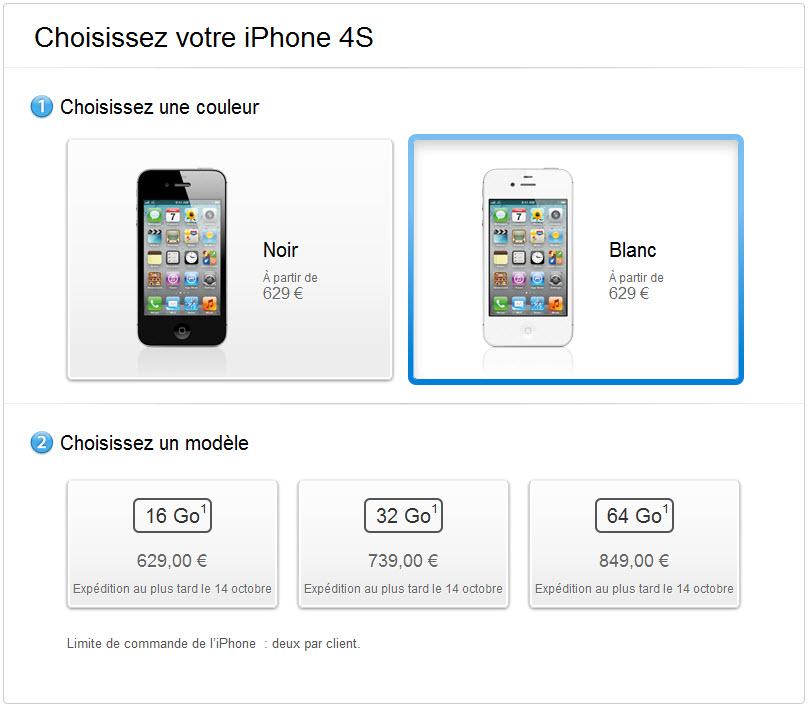 L'iPhone 4S est disponible en pré-commmande