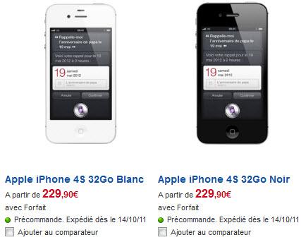 iPhone 4S - Tarifs SFR du modèle 32Go
