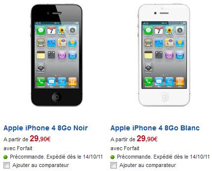 iPhone 4 - Tarifs SFR du modèle 8Go