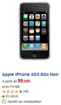 iPhone 3GS - Tarif SFR du modèle 8Go