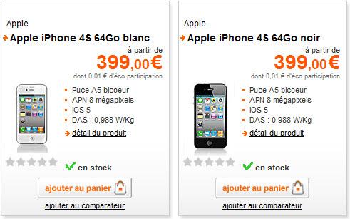 iPhone 4S - Tarifs Orange du modèle 64Go