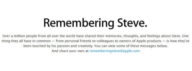 Steve Jobs - Apple active la page web en son hommage