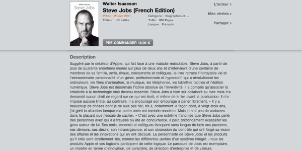 La biographie officielle de Steve Jobs disponible sur l'iBooks Store le 26 octobre