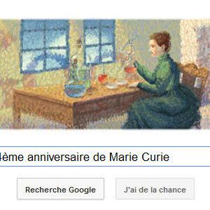 Google fête le 144ème anniversaire de Marie Curie
