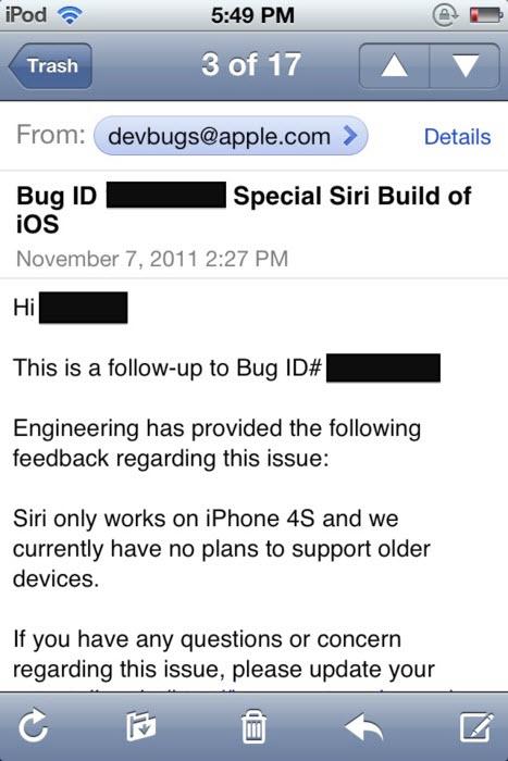 Siri : l'iPhone 4S en gardera finalement l'exclusivité