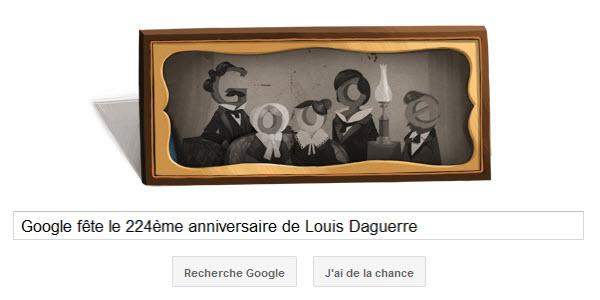 Doodle Google pour le 224ème anniversaire de Louis Daguerre